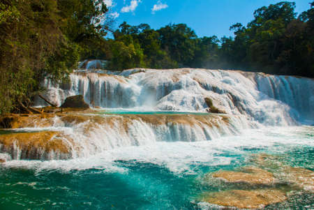Agua Azul. Yucatan. Mexico. Huge cascades on a waterfall near Palenque.