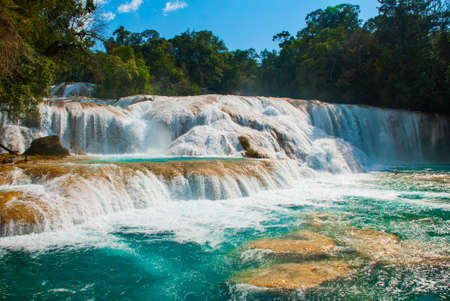 Agua Azul, Chiapas, Palenque, Mexico. Beautiful landscape with waterfall and turquoise water