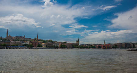 Photo for Budapest, Hungary, Europe: Church of St. Matthias, Fisherman's Bastion, Calvinist Church shore view's of the Danube - Royalty Free Image