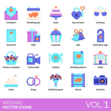 Illustration pour Wedding icons including invitation, cake, key of heart, drinking, guest list, gifts, cupcake, bell, door sign, flower on basket, camcorder, cutlery, album, hotel, swan, rings, bridal bouquet, movie, camera. - image libre de droit