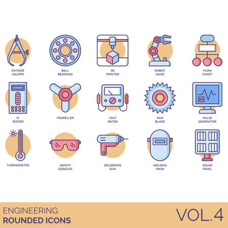 Engineering icons including outside caliper, ball bearings, 3d printer, robot hand, flowchart, IC tester, propeller, voltmeter, saw blade, pulse generator, thermometer, safety goggles, soldering gun, welding mask, solar panel.