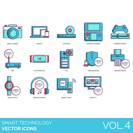 Illustration pour Smart technology icons including digital camera, devices, CD player, handheld console, gaming, wifi, VR, CPU, wireless mouse, printer, watch, headset, TV box. - image libre de droit