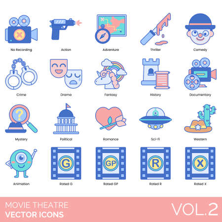 Illustration pour Movie theater icons including no recording, action, adventure, thriller, comedy, crime, drama, fantasy, history, documentary, mystery, political, romance, sci-fi, western, animation, rated G, GP, R, X. - image libre de droit