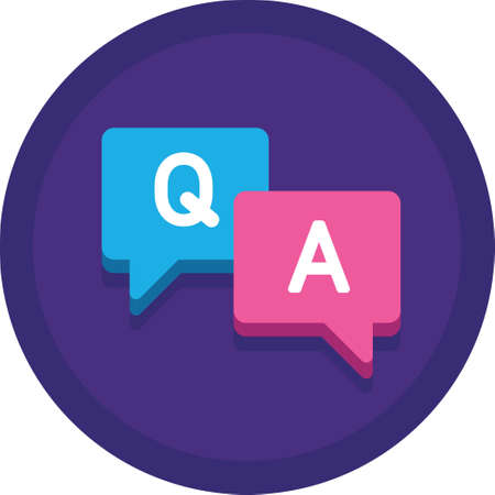 Illustration pour Flat vector icon illustration of speech bubbles with Q and A letter. Questions and answers session concept. - image libre de droit