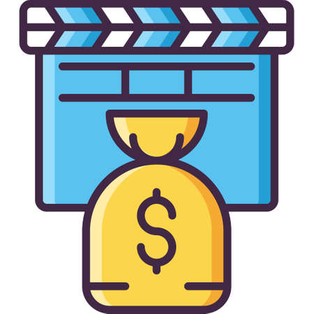 Vector flat icon illustration of action clapper and money bag. Film budget concept.