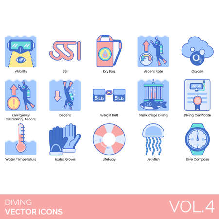 Illustration pour Diving icons including visibility, SSI, dry bag, ascent rate, oxygen, emergency swimming, decent, weight belt, shark cage, certificate, water temperature, scuba gloves, lifebuoy, jellyfish, compass. - image libre de droit