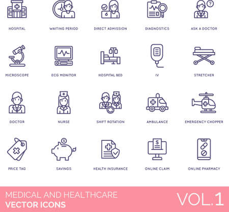 Illustration pour Medical and healthcare icons including hospital, waiting period, direct admission, diagnostics, ask a doctor, microscope, ECG monitor, bed, IV, stretcher, nurse, shift rotation, ambulance, emergency chopper, price tag, savings, health insurance, online claim, pharmacy. - image libre de droit
