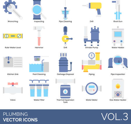 Illustration pour Flat icons of plumbing and sanitary, tools and equipment, household and commercial. - image libre de droit