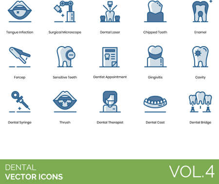 Line icons of dental and tooth healthcare, surgical instrument and device, dentist appointment