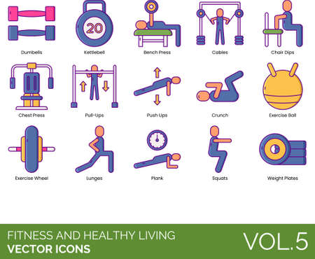 Illustration for Line icons of fitness and healthy living, gym equipment, workout - Royalty Free Image