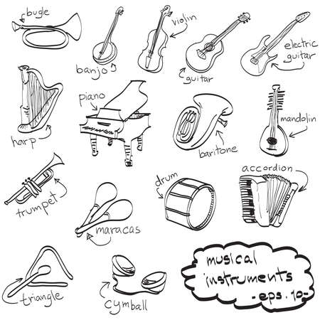 hand drawn set of musical instruments, doodles, vector.