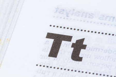 closeup letter T in dictionary, soft focus,
