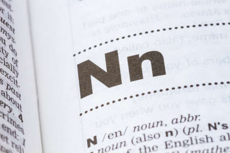 closeup letter N in dictionary, soft focus,