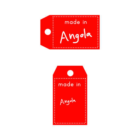 red price tag or label with white word Made in Angola isolated on white background .