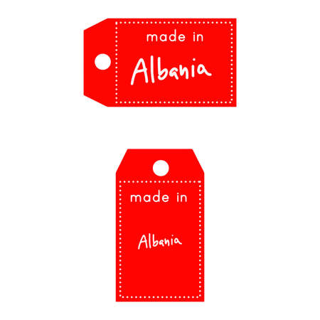 red price tag or label with white word Made in Albania isolated on white background.
