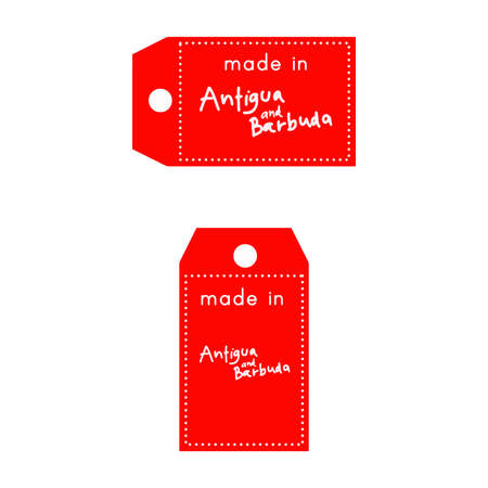 red price tag or label with white word Made in Antigua and Barbuda isolated on white background.