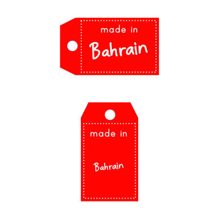 red price tag or label with white word Made in Bahrain isolated on white background