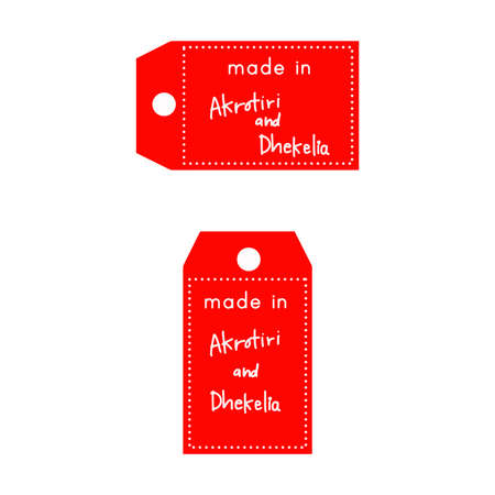 red price tag or label with white word Made in Akrotiri and Dhekelia isolated on white background.