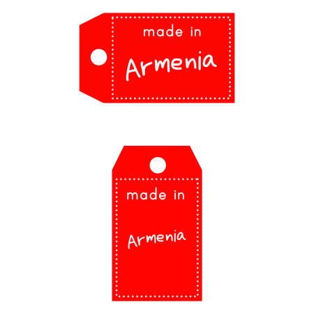 red price tag or label with white word Made in Armenia isolated on white background.