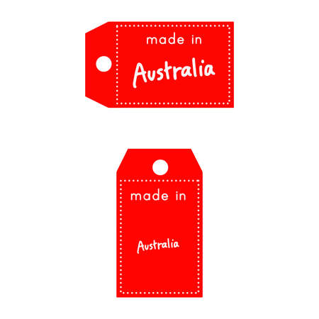 red price tag or label with white word Made in Australia isolated on white background.