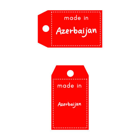 red price tag or label with white word Made in Azerbaijan isolated on white background