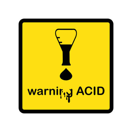 illustration vector creative design warning acid with exclamation mark made of beaker and acid drop