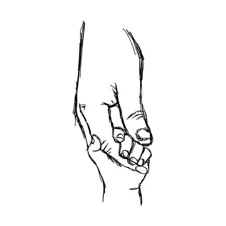 illustration vector doodle hand drawn sketch of parent holds the hand of a small child