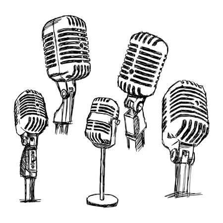 Illustrazione per illustration doodle hand drawn retro microphone set, information concept. - Immagini Royalty Free
