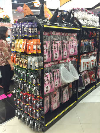BANGKOK, THAILAND - OCTOBER 10: Halloween products inventory in a shop inside of Central Chaengwattana department store on October 10, 2016 in Bangkok, Thailand.