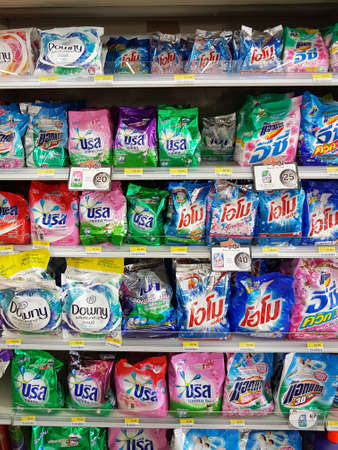CHIANG RAI, THAILAND - NOVEMBER 26: various brand of detergent in packaging for sale on supermarket stand or shelf in Seven Eleven on November 26, 2016 in Chiang rai, Thailand