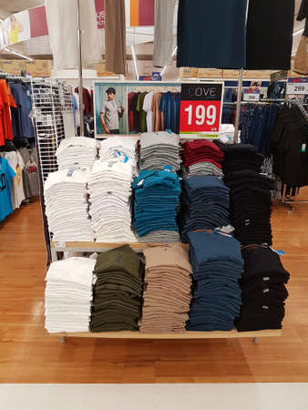 CHIANG RAI, THAILAND - FEBRUARY 6: various brand of t-shirt in packaging for sale on supermarket stand or shelf on February 6, 2017 in Chiang rai, Thailand.