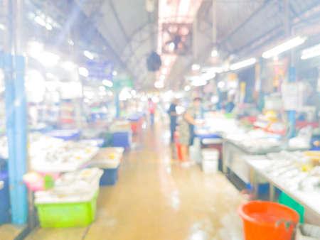 Thai fresh-food market blurred interior background with bokeh in Thailand