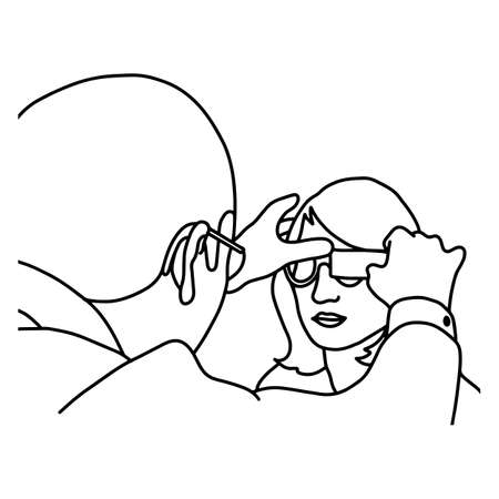 Male ophthalmologist examining woman