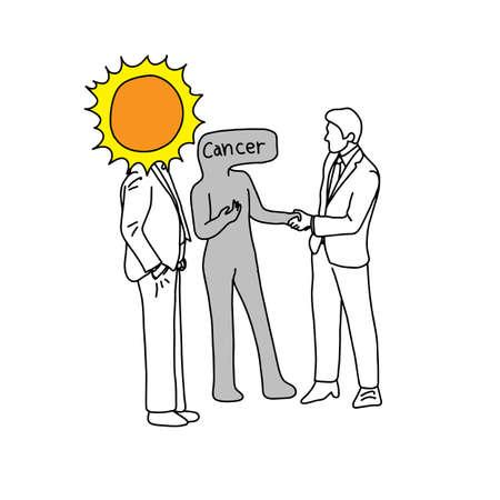 Illustration pour Metaphor of the sun introducing cancer to a man vector illustration - image libre de droit