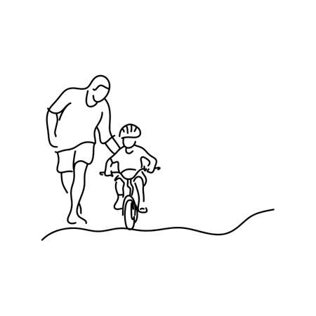 Illustration pour minimalist father teaching his daughter with safety helmet to ride a bicycle illustration sketch hand drawn with black lines isolated on white background. Copyspace for text. - image libre de droit