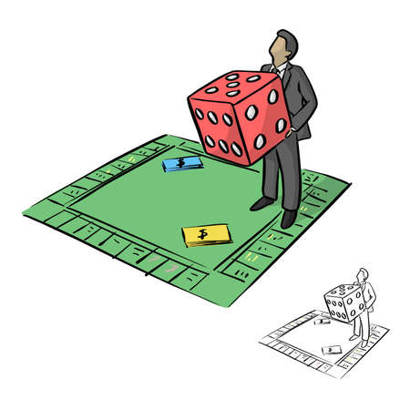 Illustration pour businessman holding big red dice in Monopoly board game vector illustration sketch doodle hand drawn with black lines isolated on white background - image libre de droit