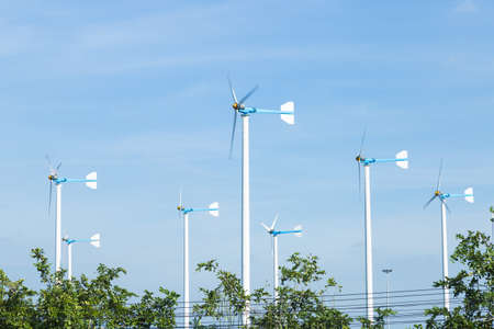 Wind turbines generate electricity. Wind energy produced by wind power.