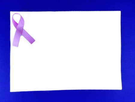 Photo pour Pink ribbon on blue White background, cancer awareness poster with space for text - image libre de droit