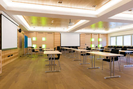 modern wooden teaching lesson class or conference room