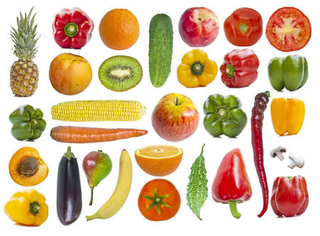 Set of fruits and vegetables isolated on white backgroundの写真素材