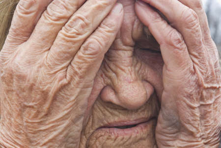 Senior woman is cry, closeup view