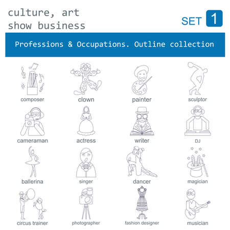 Professions and occupations outline icon set. Culture, art, show business. Flat linear design. Vector illustration