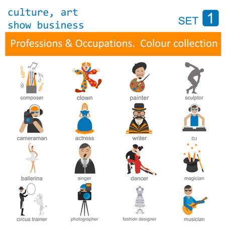 Professions and occupations outline icon set. Culture, art, show business. Coloured version. Vector illustration