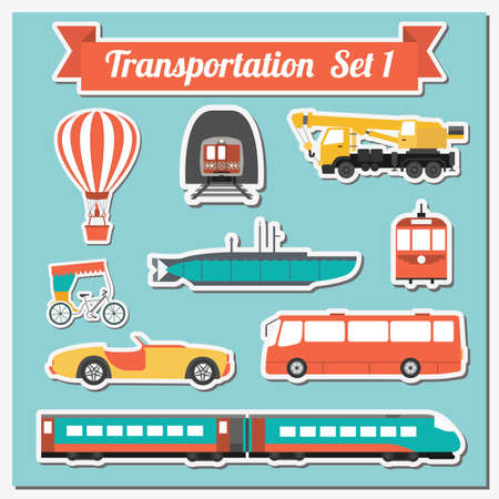Photo for Set of all types of transport icon  for creating your own infographics or maps. Water, road, urban, air, cargo, public and ground transportation set. Vector illustration - Royalty Free Image