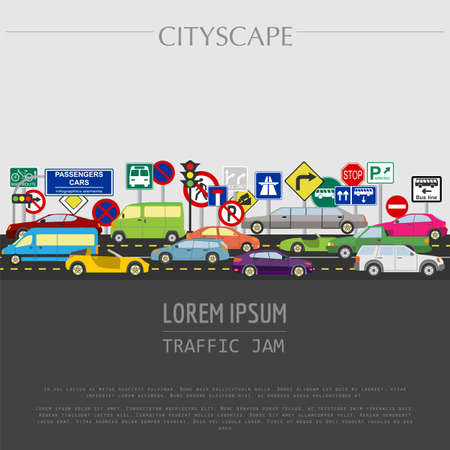 Cityscape graphic template. Modern city. Vector illustration. Traffic jam, transport, cars, road signs. City constructor. Template with place for text. Colour version