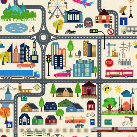 City map generator. City map example. Elements for creating your perfect city. Colour version. Seamless pattern. Vector illustration
