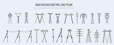 Illustration pour High voltage electric line pylon. Icon set suitable for creating infographics. web site content etc. Vector illustration - image libre de droit