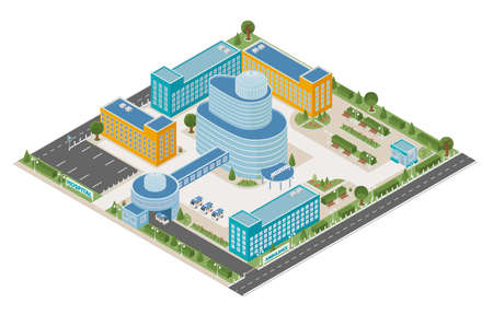 Flat 3d isometric clinic complex and city map constructor elements