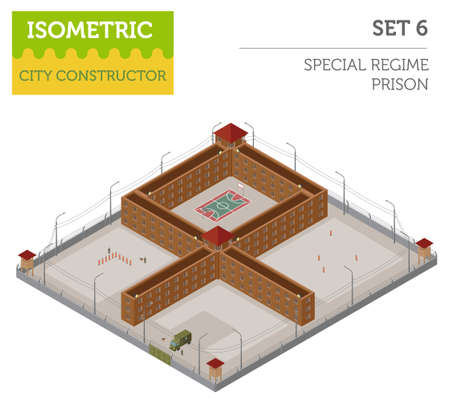 Flat 3d isometric special regime prison, jail for city map