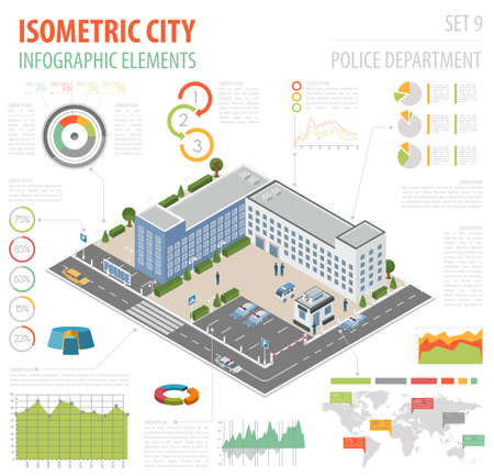 Flat 3d isometric Police Department and city map constructor
